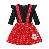 Baby Girls Skirt Outfits Ruffle Romper Tops + Printing Polka Dot Suspender Skirt + Headband 3pcs Clothes Set (Black A, 3-6 Months)