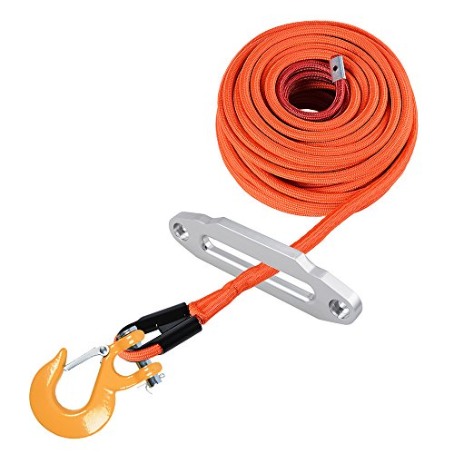 Purchase Astra Depot Set 95ft x 3/8 inch Orange Synthetic Winch Rope Cable 22000LBs w/Full Rock Guar...