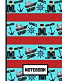 NOTEBOOK: Captain's Ship Sailing Red Blue Pattern Print Novelty Gift - Boating Notebook for Kids, Boys, Teens, Sailors