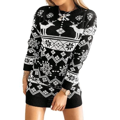 Eghunooze - Abito da donna a maglia con pupazzo di neve, a maniche lunghe, con mini maglione, 1-Nero., M