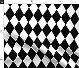 Spoonflower Stoff – Diamanten schwarz & weiß Rauten