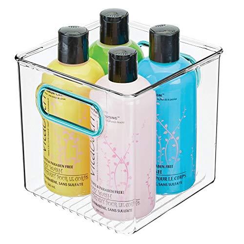 mDesign Contenitore per il bagno – Organizer in plastica per cosmetici, prodotti bagno e molto altro – Pratico cesto per il bagno con manici – trasparente/blu