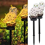 DAZZLE BRIGHT 2 Pack Owl Figure Solar LED Lights, Resin Garden Waterproof Fall Decorations with Stake for Halloween Outdoor Yard Pathway Outside Patio Lawn Decor