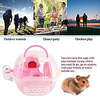 ハムスターの家、ハムスターのおもちゃ、完全装備のアクセサリー、真空ウォーターボトル ケージ、マウスケージ、旅行用のピクニック用の屋内屋外(Pink)