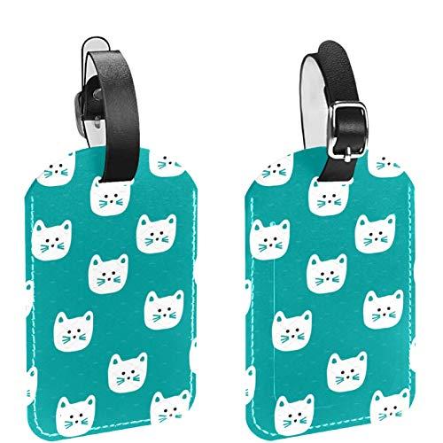 ATOMO Etiquetas de cuero para bolsas de equipaje con diseño de cara de