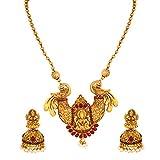 MEENAZ South Indian Temple Jewellery Laxmi Mala Matte Gold Traditional Pearl Jhumki Earrings