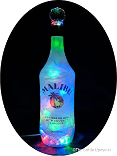 Upcycled Malibu Rum Mood Therapy Liquor Bottle Light w/100 Multi-Color LED's Topped Off with an Asfour 30% Leaded Clear Crystal Prism Ball