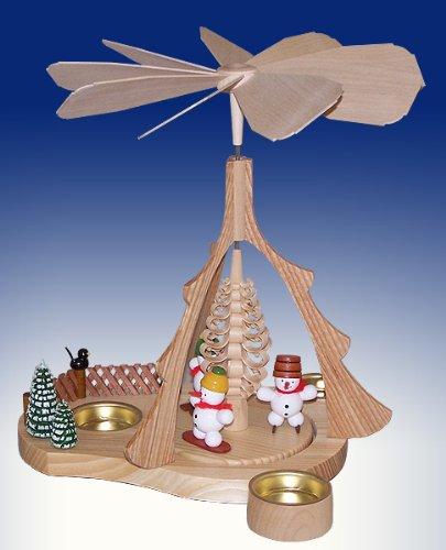 Weihnachtspyramide Schneemann – Tischpyramide – Pyramide für Teelichter – 26 cm – Erzgebirge - NEU