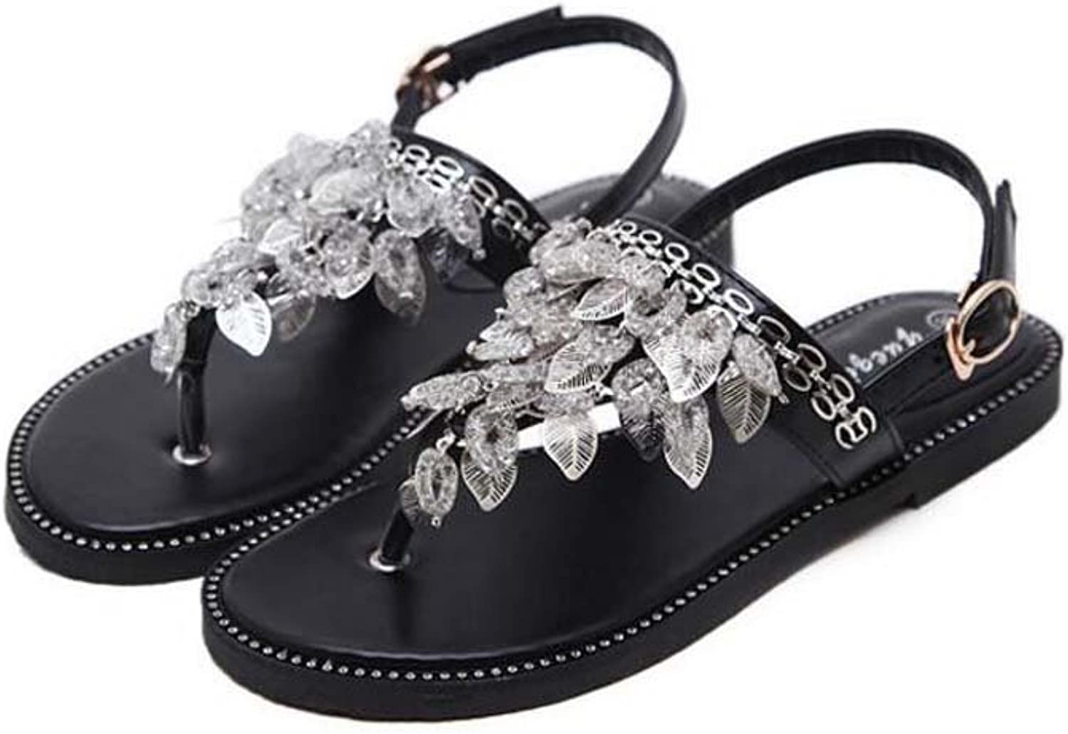 Women Clip Toe Flat Sandals Comforty Slingback Tessel Rivets Belt Buckle Beach Holiday shoes Casual shoes Eu Size 34-40