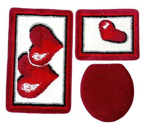 Ilkadim Badgarnitur 3-teilig rot weiß, Motiv Herz, Badteppich mit WC-Vorleger für Hänge-WC, 80 x 50cm (große Matte), 50x40cm (kleine Matte)