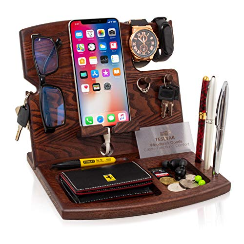 TESLYAR Wood Phone Docking Station Hooks Key Holder Wallet Watch Stand Watch Organizer Men Gift Husband Anniversary Dad Birthday Nightstand Purse Father Graduation Male Travel Gadgets Natural Ash-Wood