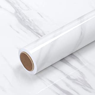 White Marble Wallpaper Peel and Stick Contact Paper 40×300cm Removable Waterproof Self Adhesive Decorative Wall Paper for ...