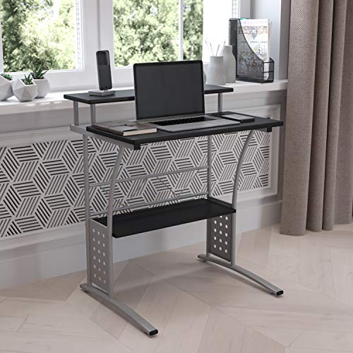 Flash Furniture Computer Desk, Office Desk with Black Laminate Top, Sturdy and Compact Home Office Desk with Silver Frame and Storage Shelf