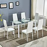 Dining Table And Chairs Set 6 Faux Leather Padded Chairs & Rectangular Glass Dinning Tables With Modern Design Dinner Set Furniture For Home, Office, Kitchen (White Table With 6 White Chairs)