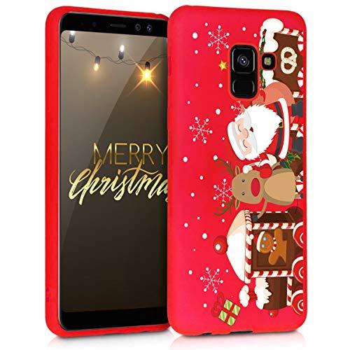 Yoedge Funda para Samsung Galaxy A8 2018, Cárcasa Silicona Rojo Navidad con Dibujos Nieve Ciervo de Diseño Antigolpes Case Bumper Fundas para Samsung Galaxy A8 2018 Smartphone. (Navidad)