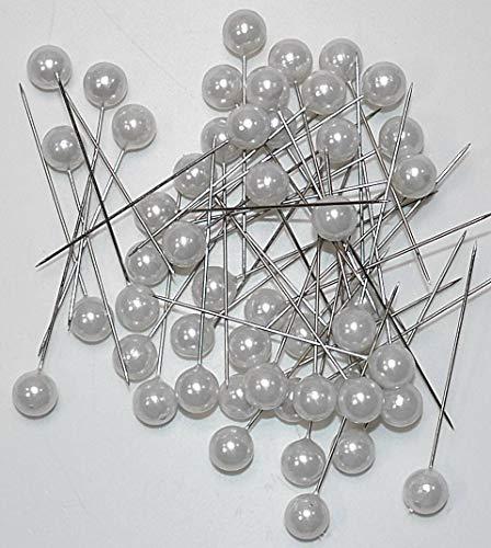 Blumen-Senf Perlen-Nadeln in praktischer Plastikdisplaybox Deko-Nadeln Perle WEISS 6mm 100 Stück