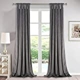 Luxury Velvet Curtains Gray 96-inch - Modern Twist Top Design Super Soft Thick Velvet Drapes Room Darkening Privacy Enhancing Panels for Studio / Study Room, W52 x L96-inch, 2 Pcs