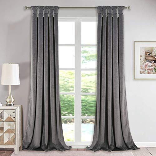 Luxury Velvet Curtains Gray 96-inch - Modern Twist Top Design Super Soft Thick Velvet Drapes Room Darkening Privacy Enhancing Panels for Studio / Study Room, W52 x L96-inch, 2 Pcs