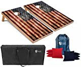 10. Tailgating Pros Rustic American Flag Cornhole Boards w/Weather Resistant Bean Bags - 4'x2' Distressed Flag Cornhole Game w/Carrying Case & Corn Hole Bags