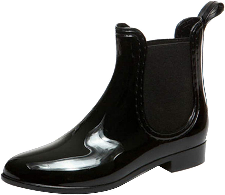 Uirend Black Rain Boots Womens - Ladies Wellies Chelsea Wellington Snow Boots Low Heels Block Chunky Flat Elasticated Ankle shoes Casual Walking Garden Riding Biker