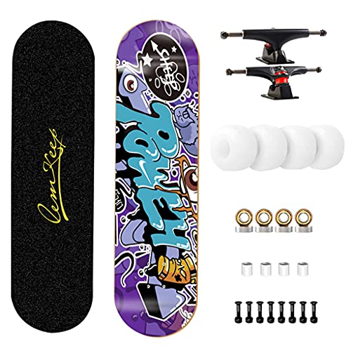 qiaoliang Pro Skateboard 31'× 8' Marcadores Estándar Completos para Adultos Adultos Chicas Niños Niños 7 Capas Arce Madera Carretera Cepillo Skateboard