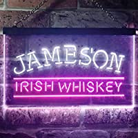 Jamesons Irish Whiskey LED看板 ネオンサイン バーライト 電飾 ビールバー 広告用標識 白色 + 紫色 W60cm x H40cm