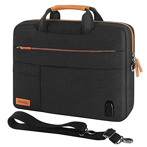DOMISO 15-15,6 Zoll Groß Laptop Tasche Tragetasche Schultertasche mit USB Ladeanschluss für 15.6