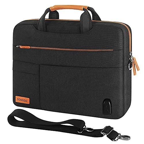 DOMISO Borsa a tracolla per laptop da 15,6', con porta di ricarica USB, per Lenovo IdeaPad ThinkPad/HP Pavilion 15 Envy 15 / Dell XPS 15 / Apple/Asus, colore: Nero/Marrone