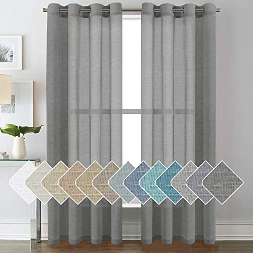 Open Weave Linen Curtains 84 Inches Long Semi Sheer Charcoal Grey Curtains - Privacy Added Nickel Grommet Linen Curtain Panels for Living Room / Bedroom (2 Panels)