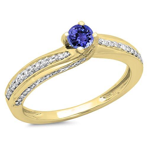 Damen Ring 14 Karat Gelbgold Echte Tanzanite & Diamant Damen Solitaire Verlobungsring