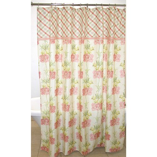 Pink and cream shabby chic floral shower curtain