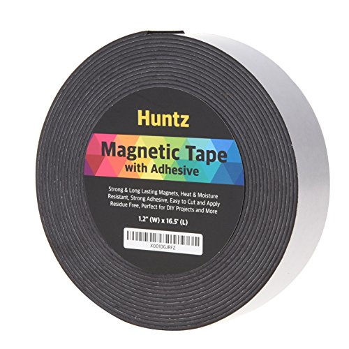 Huntz Flexible Magnetic Tape, Self- Adhesive(1.2inch x 16.5ft) / Strong & Flexible/Easy to Cut
