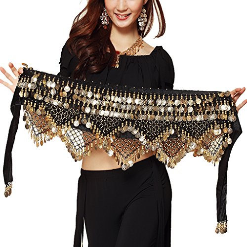Wuchieal Women's Sweet Bellydance Hip Scarf With Gold Coins Skirts Wrap Noisy Black