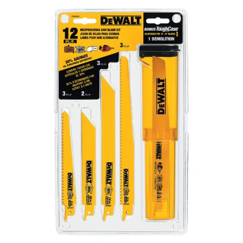 DEWALT Reciprocating Saw Blades, Bi-Metal Set with Case, 12-Piece (DW4892)