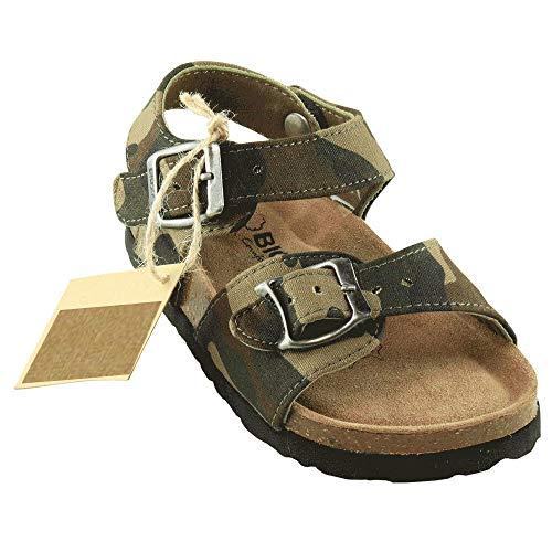 BIOSOFT Kinderschuh Tommy Kinder Freizeit Sandale | Sandalette | Schuh mit verstellbarem Front und Fersenriemen | Riemchensandale | Camouflage Oliv grün | braun | Sand | Olive Green - Gr. 34