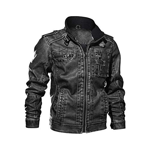 Manteau Homme Hiver Chaud Veste Zippe, Pullover en Laine Blouson Moto Jacket Cuir Parka Usure Manteau Cardigan Manches Longues (Noir, XXXXL)