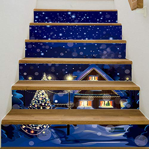 Pegatinas de escalera DIY autoadhesivas impermeables extraíbles para gabinetes de cocina, escaleras, baño, cocina, decoración del hogar (100 x 18 cm x 6 piezas)