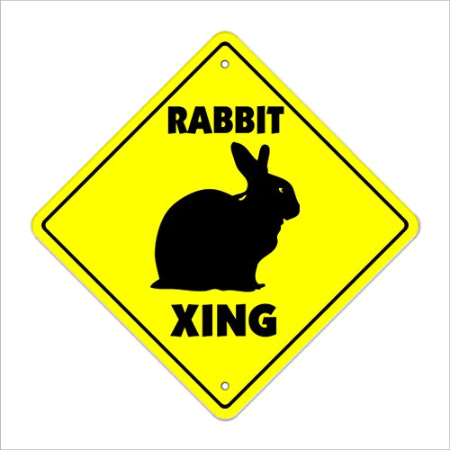 """Rabbit Crossing Sign Zone Xing   Indoor/Outdoor   14"""" Tall Plastic Sign bunny cage pet lover hare hutch breed bunnie"""