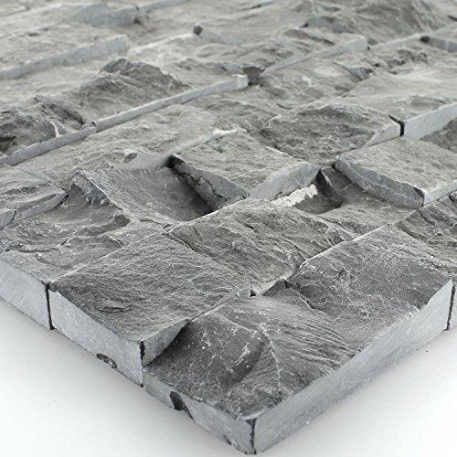 Schiefer Mosaik Fliesen Bricks Anthrazit