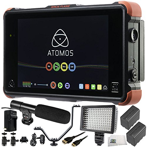 "Atomos Ninja Flame 7"" 4K HDMI Recording Monitor 12 PC Accessory Bundle Includes 160 LED Light + 2 Replacement F970 Batteries + Mini HDMI Cable + AC/DC Rapid Home & Travel Charger + More"