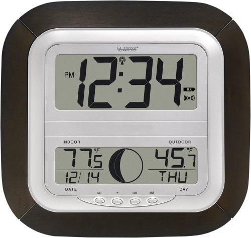 La Crosse Technology WS-8418U-IT Atomic Digital Wall Clock with Moon...