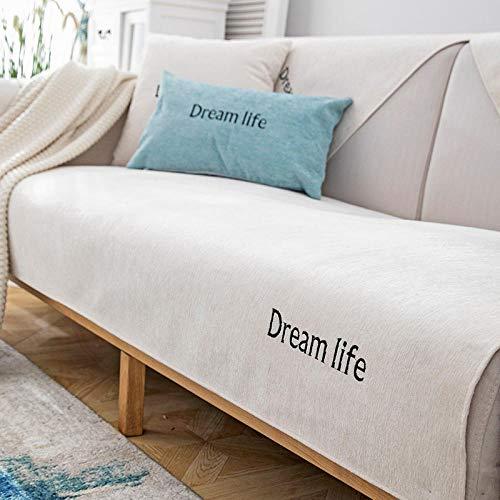 Couch-husse,Couch schoner,sofaschutz,Garten Outdoor Couch Schonbezug,Chenille rutschfeste 2/3/4 Sitzer Sofa Handtuchbezug,Stoff Sofa Protector Covers-Beige_70 * 150 cm-Verkauft in stück