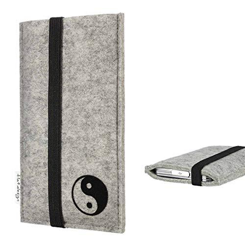 flat.design Handyhülle Lisboa kompatibel mit Fairphone Fairphone 2 - Smartphone-Tasche aus Filz mit Motiv Yin und Yang - Handytasche Handmade in Germany