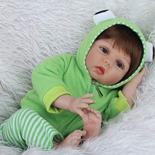 CHAREX Reborn Baby Dolls Boy 22 Inch, Weighted Cheap Realistic Baby Doll Reborn with Green Frog Set and Accessories for Children Age 3+