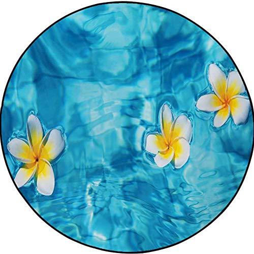 Hawaiian Polyester Geometric Area Rug Kids Play Rug, Round Tropical Frangipani Flower Floating in Water Pool Summertime Ecofriendly Aqua Yellow White 1.9 ft in Diameter