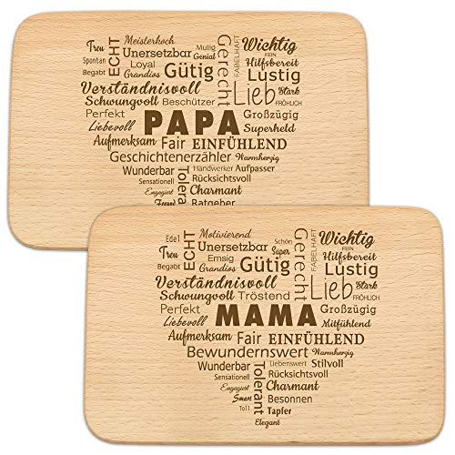 Spruchreif PREMIUM QUALITÄT 100% EMOTIONAL · 2er Set Frühstücksbrettchen Mama und Papa · Brotzeitbrett mit Gravur · Geschenke für Eltern · Geschenk Papa · Geschenke Mama · Frühstücksbrettchen Holz
