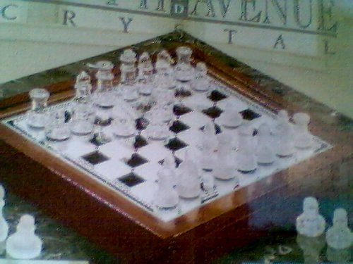 68.p. 3 in 1 Glass Game Set - 12' Chess, Checkers and Backgammon