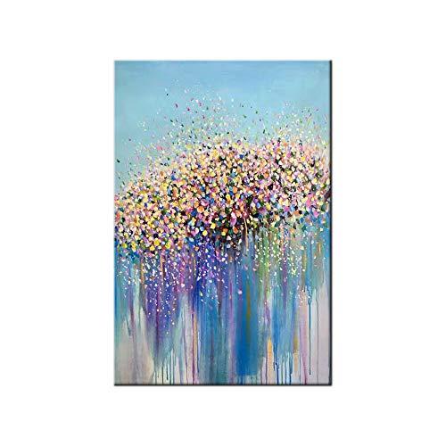 100% Pintura Al Óleo Pintado A Mano Cuadros Abstractos Modernos Flores Arte De Pared sobre Lienzo Estirada Y Enmarcado Decoración Listo para Colgar,16'*32'(40 * 80cm)