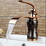 Kitchen Sink Taps Brass Jade Body Marble Basin Mixer Single Handle Rose Gold Basin Sink Faucet