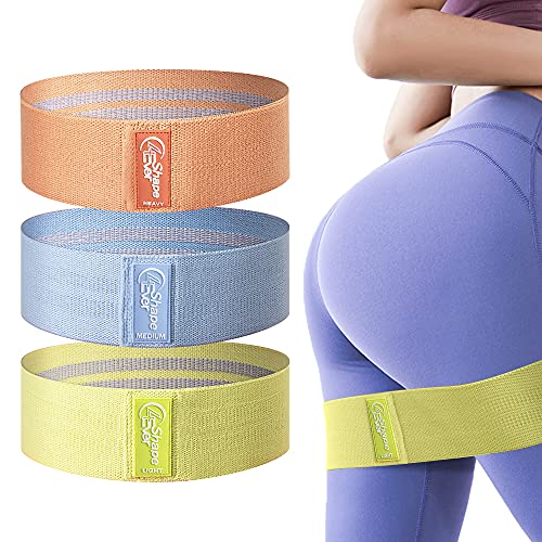 4evershape Booty Bands, Anti Slip Fabric Resistance Bands for Legs and Butt, Workout Bands, Exercise Bands, Hip Bands, Elastic Bands for Exercise, Glute Bands, Training Book and Carry Bag Included